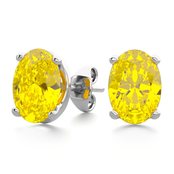 1.5 Carat Oval Shape Citrine Stud Earrings in Sterling Silver by