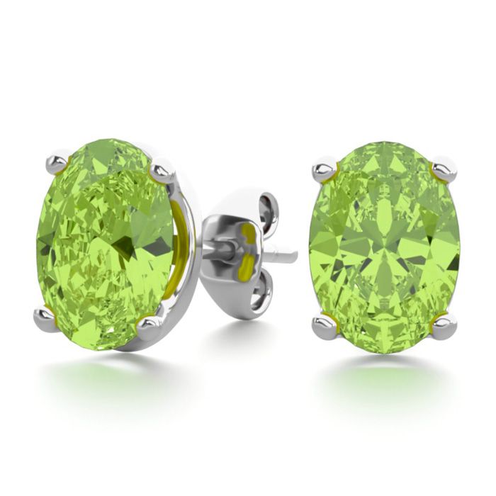 1 3/4 Carat Oval Shape Peridot Stud Earrings in Sterling Silver b