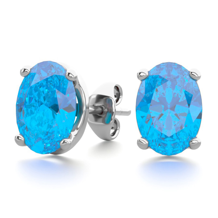 2 Carat Oval Shape Blue Topaz Stud Earrings in Sterling Silver by