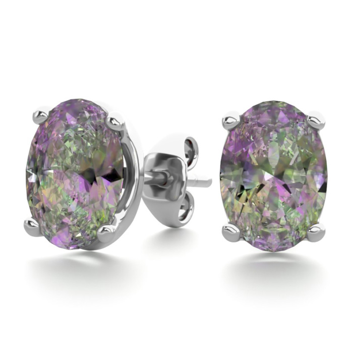 1.5 Carat Oval Shape Mystic Topaz Stud Earrings in Sterling Silve