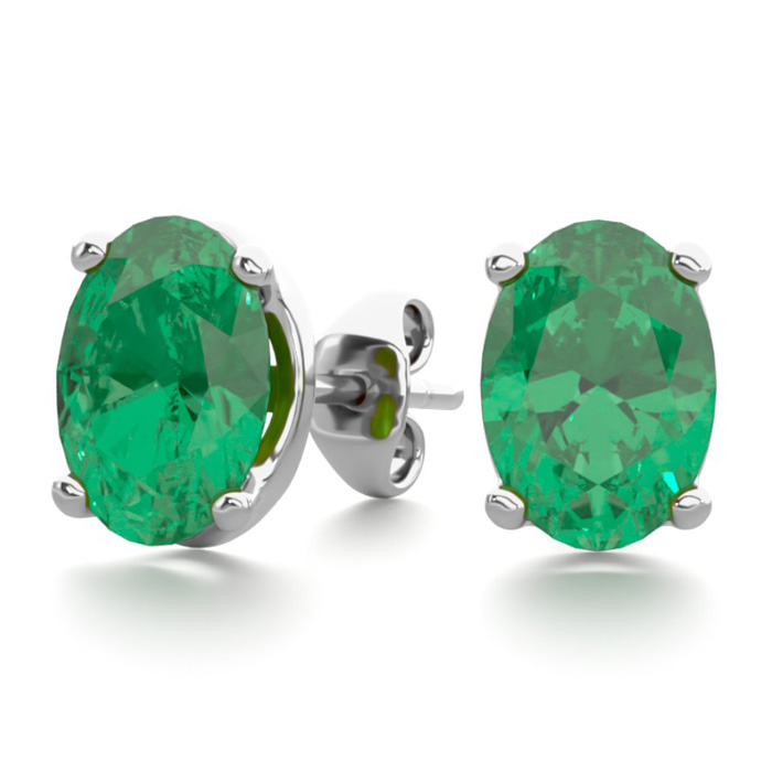 1 1/2 Carat Oval Shape Emerald Stud Earrings In Sterling Silver