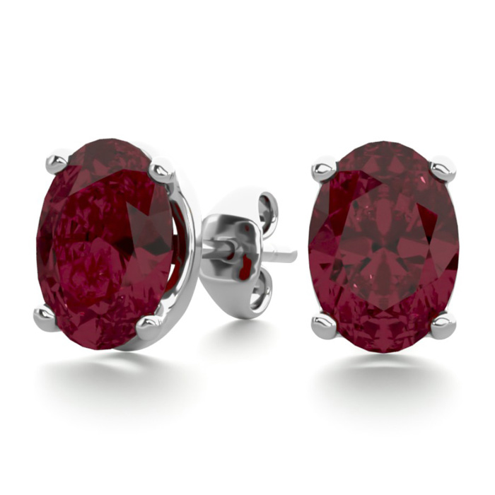 2 Carat Oval Shape Garnet Stud Earrings in Sterling Silver by Sup