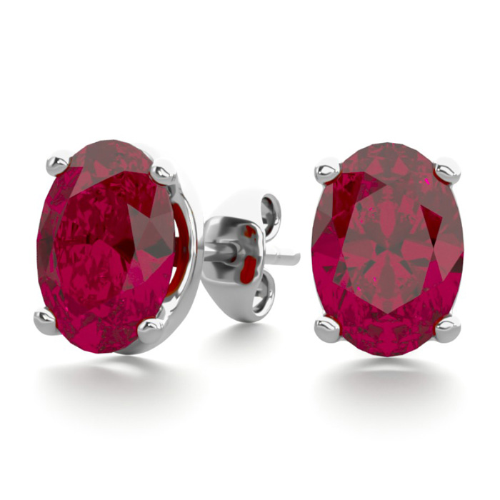 2 Carat Oval Ruby Stud Earrings in Sterling Silver by SuperJewele