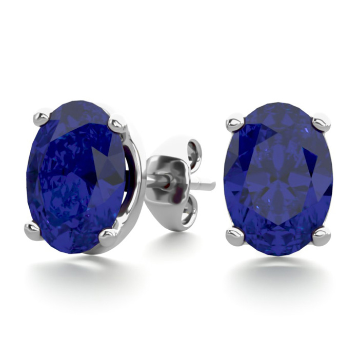 2 Carat Oval Shape Sapphire Stud Earrings in Sterling Silver by S