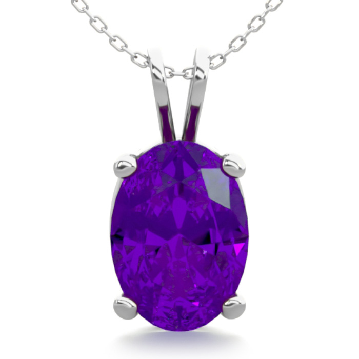 3/4 Carat Oval Shape Amethyst Necklace in Sterling Silver, 18 Inc