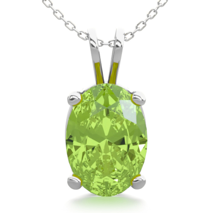 1 Carat Oval Shape Peridot Necklace in Sterling Silver, 18 Inches