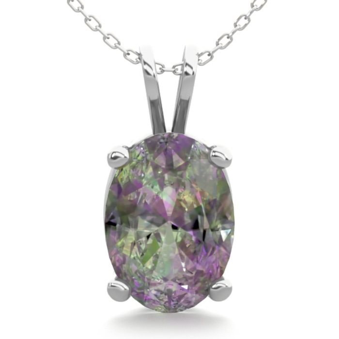 3/4 Carat Oval Shape Mystic Topaz Necklace in Sterling Silver, 18