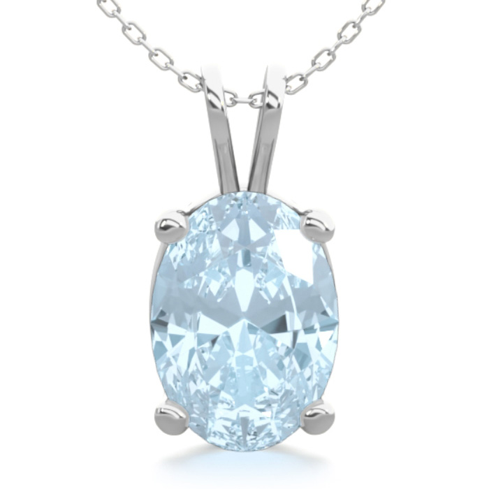 3/4 Carat Oval Shape Aquamarine Necklace in Sterling Silver, 18 I