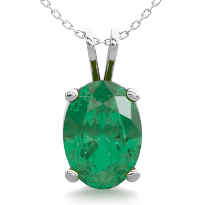 3/4 Carat Oval Shape Emerald Necklace in Sterling Silver, 18 Inch