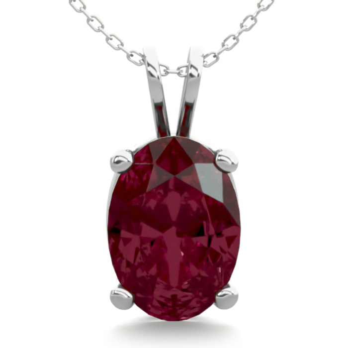1 Carat Oval Shape Garnet Necklace in Sterling Silver, 18 Inches by SuperJeweler