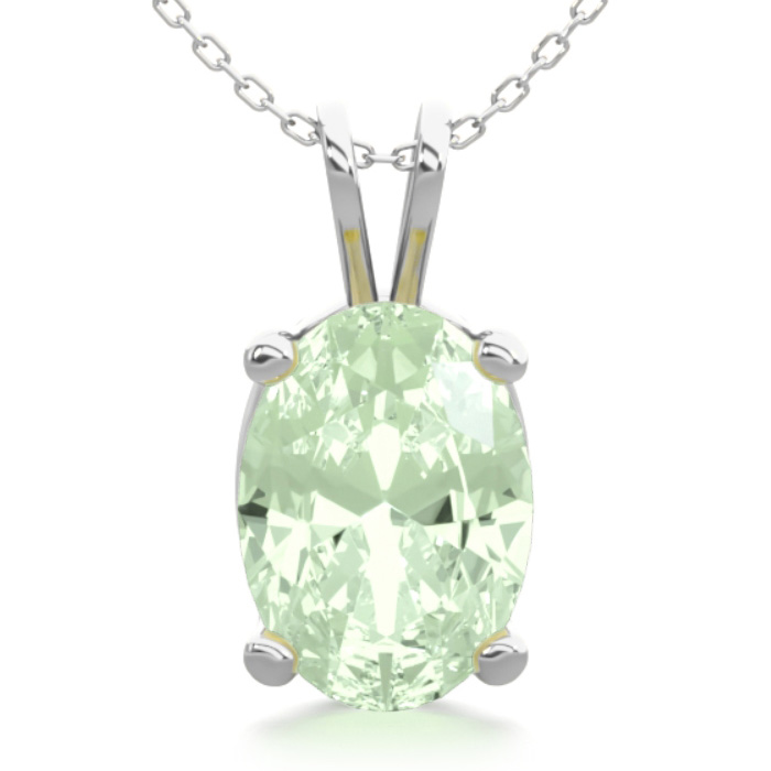 3/4 Carat Oval Shape Green Amethyst Necklace in Sterling Silver,