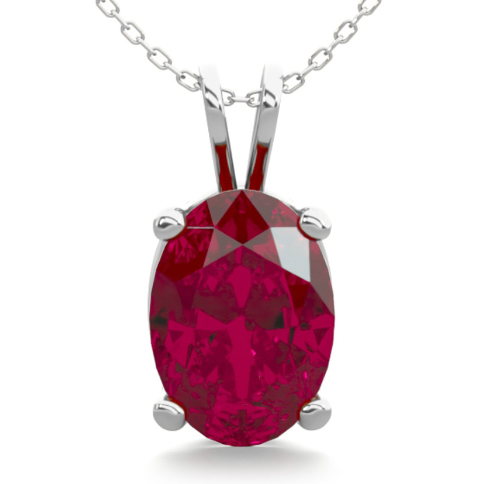1 Carat Oval Shape Ruby Necklace in Sterling Silver, 18 Inches by