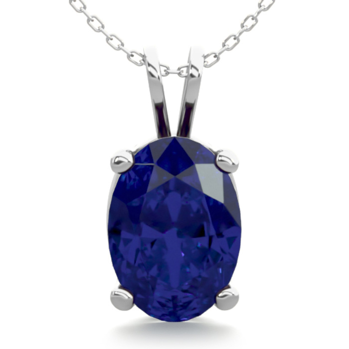1 Carat Oval Shape Sapphire Necklace in Sterling Silver, 18 Inches by SuperJeweler