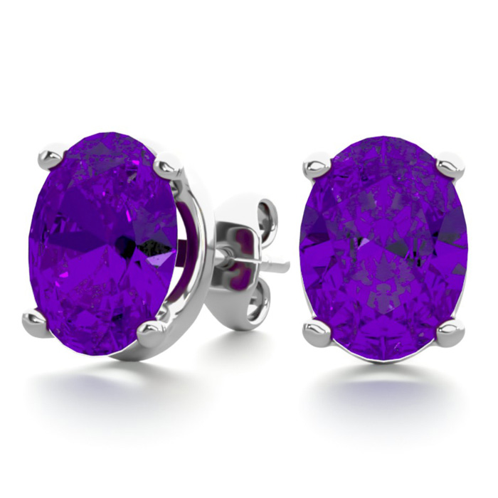 2 Carat Oval Shape Amethyst Stud Earrings in Sterling Silver by S
