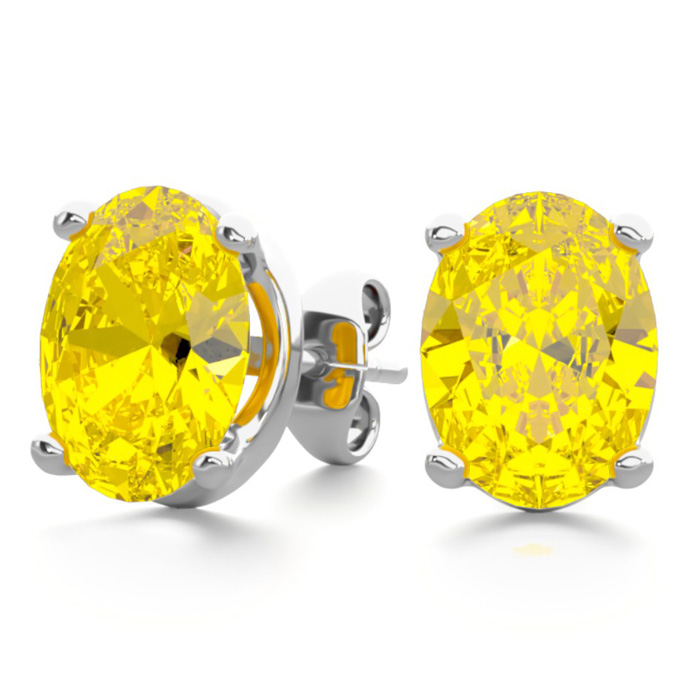 2 Carat Oval Shape Citrine Stud Earrings in Sterling Silver by Su