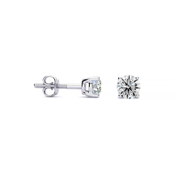 Colorless 1/4 Carat Diamond White Gold Stud Earrings, D-E-F Diamo