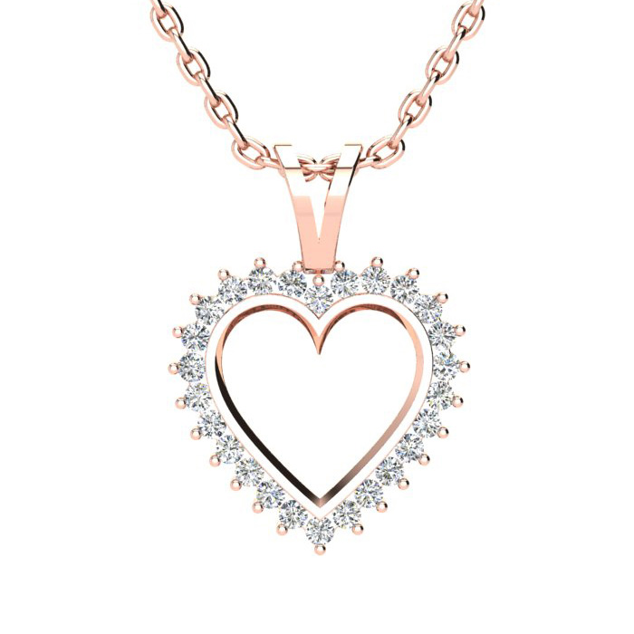 1/2 Carat Perfect Diamond Heart Pendant Necklace in Rose Gold, J/