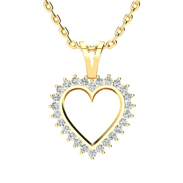 1/2 Carat Perfect Diamond Heart Pendant Necklace in Yellow Gold,
