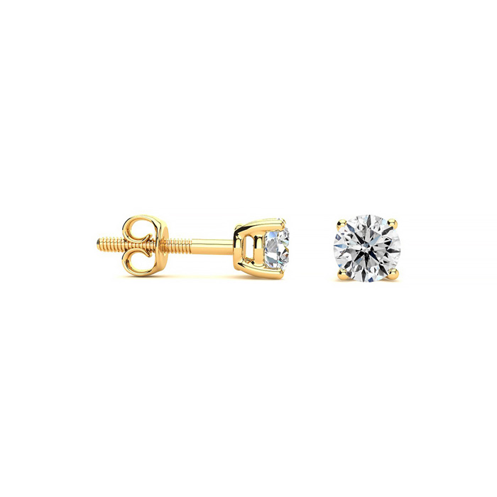 1/4 Carat Colorless Diamond Stud Earrings in Yellow Gold, E/F by