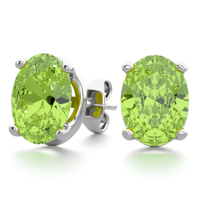 2 3/4 Carat Oval Shape Peridot Stud Earrings in Sterling Silver b