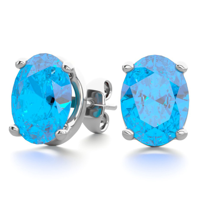 3 Carat Oval Shape Blue Topaz Stud Earrings in Sterling Silver by