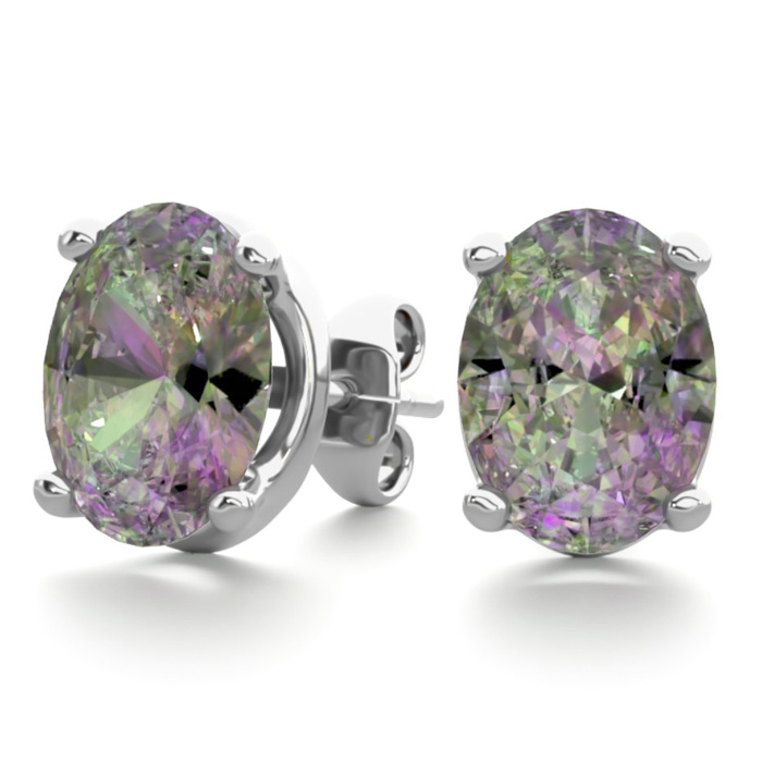 2 Carat Oval Shape Mystic Topaz Stud Earrings in Sterling Silver
