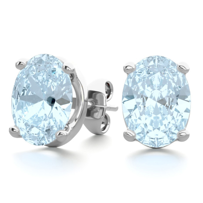 2 1/3 Carat Oval Shape Aquamarine Stud Earrings in Sterling Silve