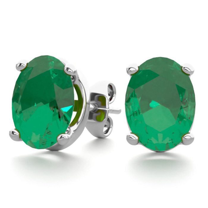 2 1/3 Carat Oval Shape Emerald Stud Earrings in Sterling Silver by SuperJeweler