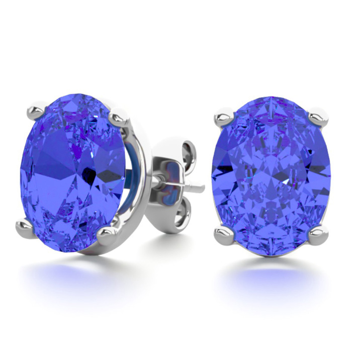 2.5 Carat Oval Shape Tanzanite Stud Earrings in Sterling Silver b