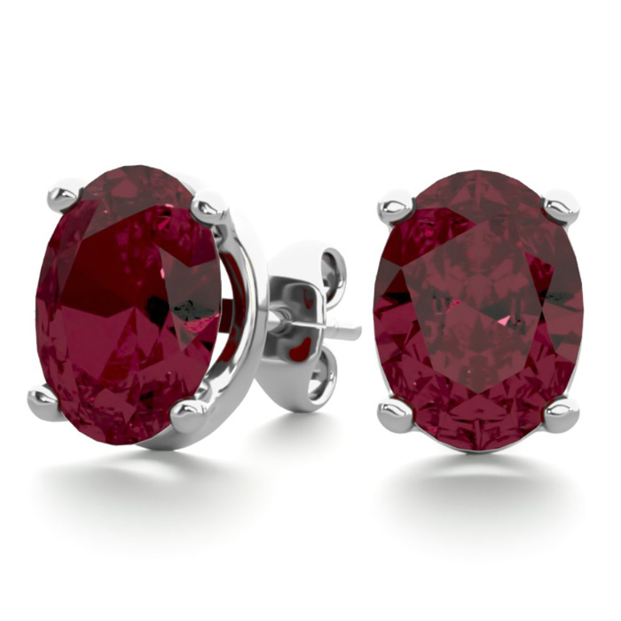 3 Carat Oval Garnet Stud Earrings in Sterling Silver by SuperJewe
