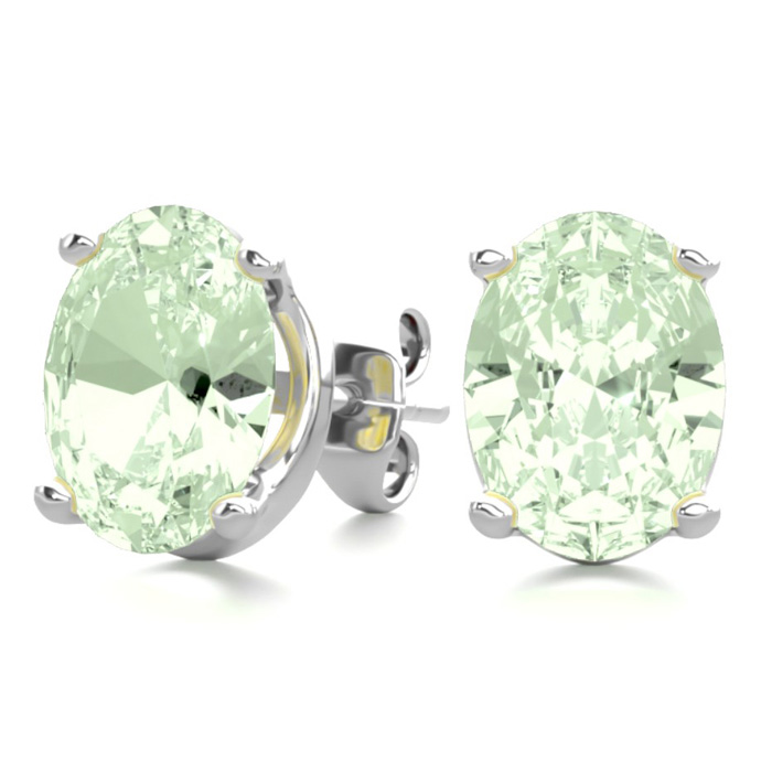 2 Carat Oval Shape Green Amethyst Stud Earrings in Sterling Silve