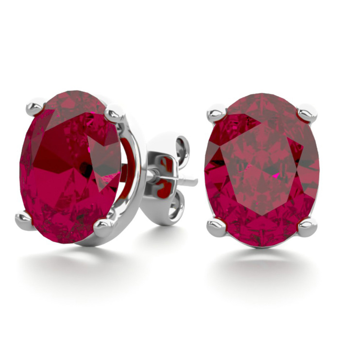 3 Carat Oval Shape Ruby Stud Earrings in Sterling Silver by Super