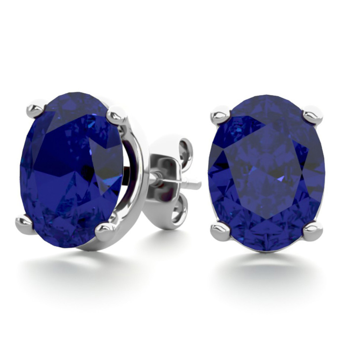 3 Carat Oval Shape Sapphire Stud Earrings in Sterling Silver by S