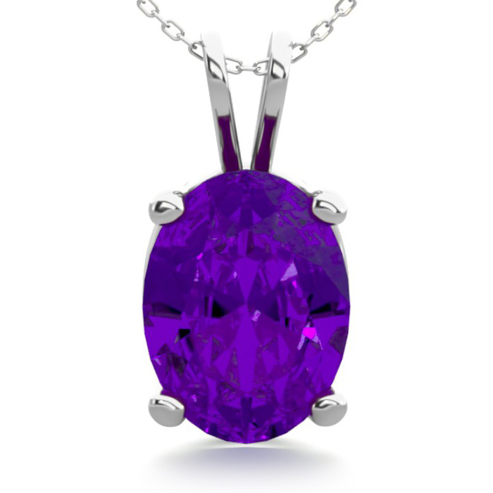 1 Carat Oval Shape Amethyst Necklace in Sterling Silver, 18 Inche