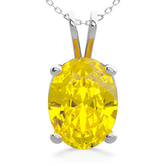 1 Carat Oval Shape Citrine Necklace in Sterling Silver, 18 Inches