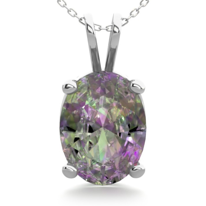 1 Carat Oval Shape Mystic Topaz Necklace in Sterling Silver, 18 Inches by SuperJeweler