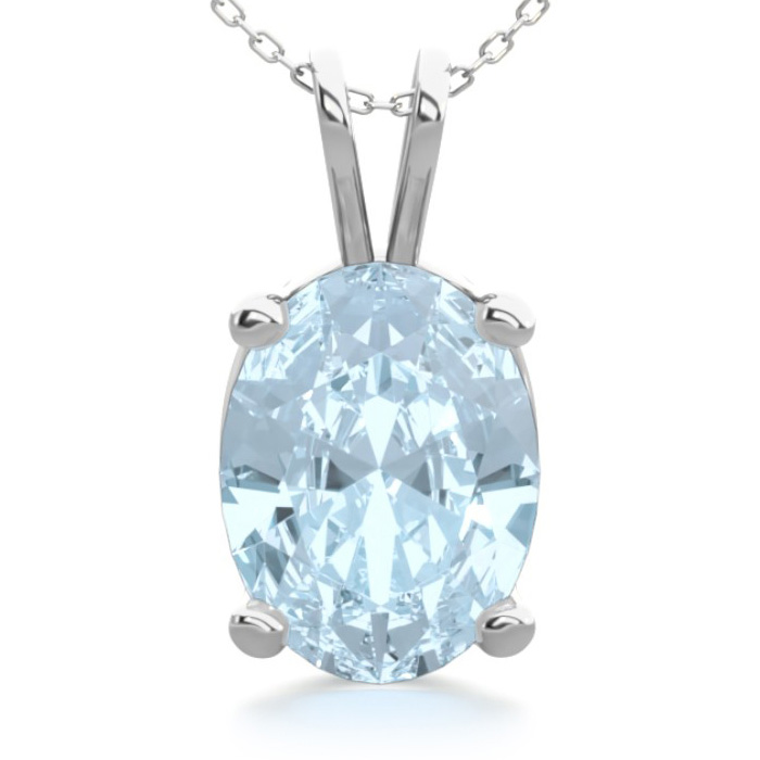 1 Carat Oval Shape Aquamarine Necklace in Sterling Silver, 18 Inc