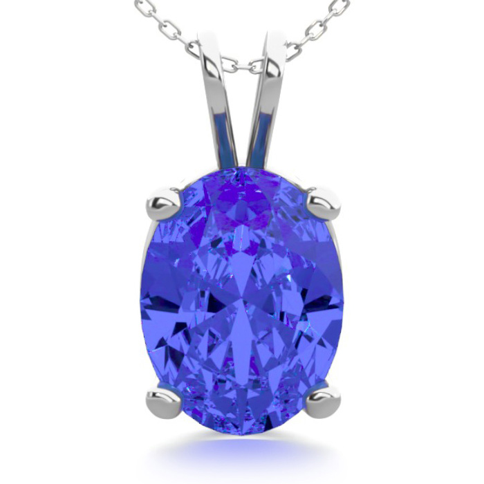 1 1/3 Carat Oval Shape Tanzanite Necklace in Sterling Silver, 18