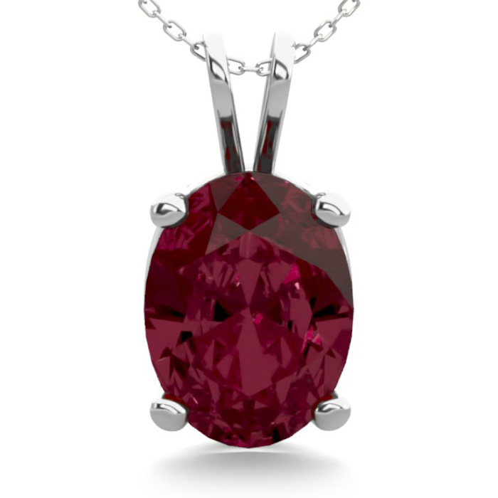 1.5 Carat Oval Shape Garnet Necklace in Sterling Silver, 18 Inche