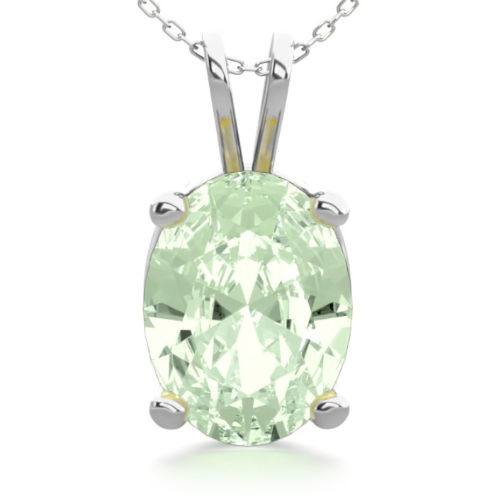 1 Carat Oval Shape Green Amethyst Necklace in Sterling Silver, 18