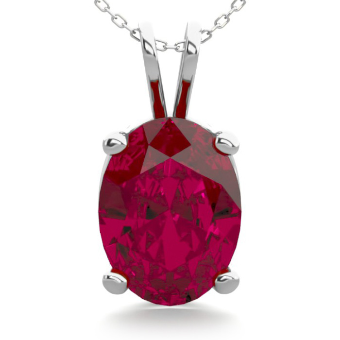 1.5 Carat Oval Shape Ruby Necklace in Sterling Silver, 18 Inches