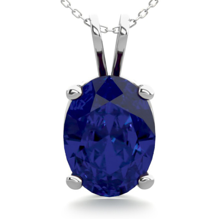 1.5 Carat Oval Shape Sapphire Necklace in Sterling Silver, 18 Inc
