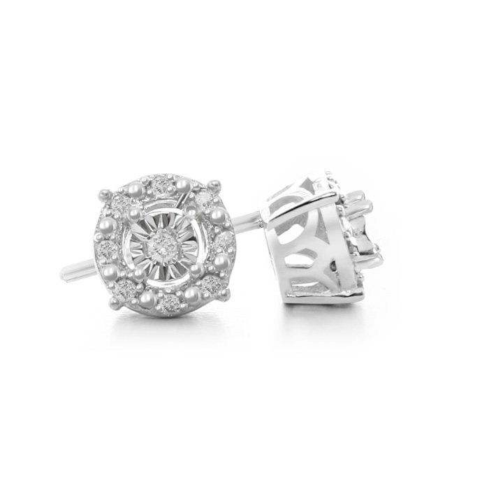 1/10 Carat Halo Diamond Stud Earrings in Sterling Silver, J/K by