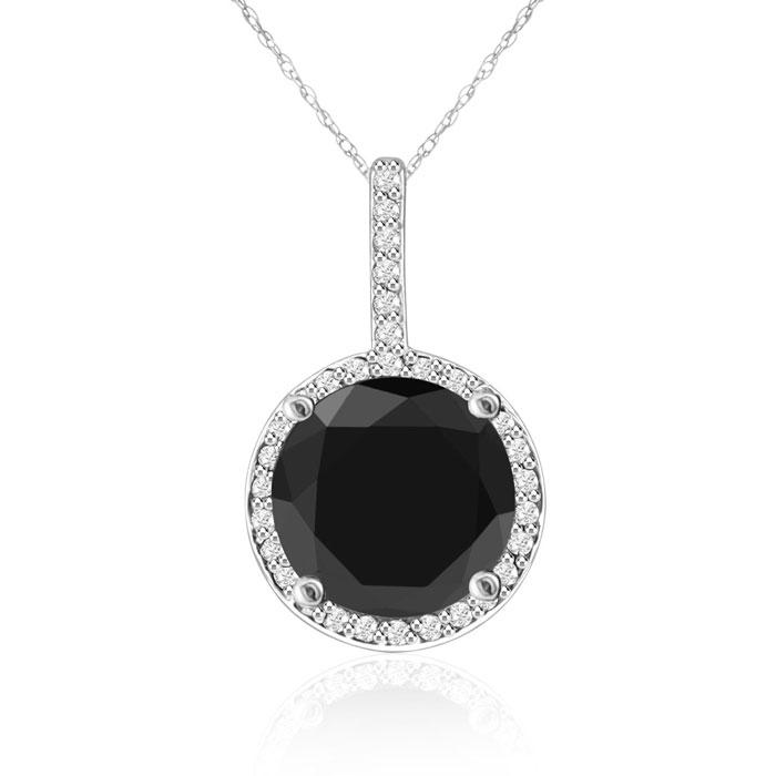 4 1/4 Carat Black & White Diamond Halo Necklace in 14K White Gold