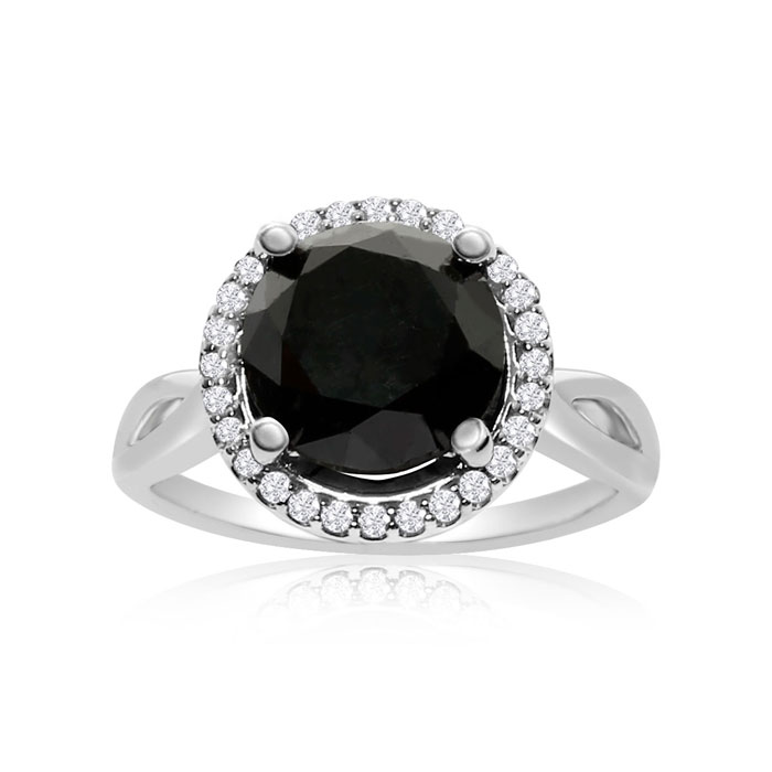 4 3/4 Carat Black & White Diamond Halo Ring in 14K White Gold, G/H by SuperJeweler