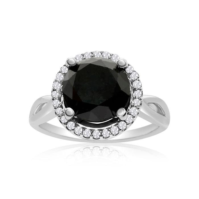 4 3/4 Carat Black & White Diamond Halo Ring in 14K White Gold, G/