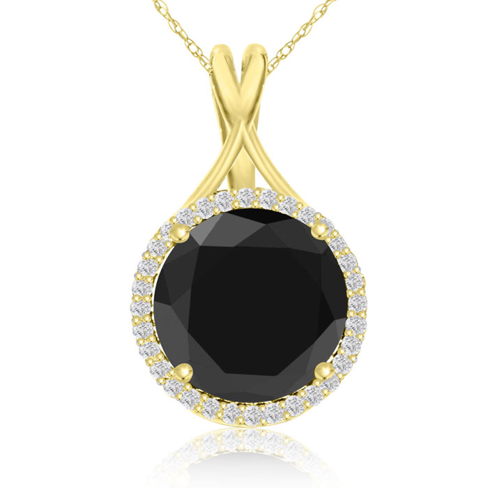 5 Carat Black & White Diamond Halo Necklace in 14K Yellow Gold, G