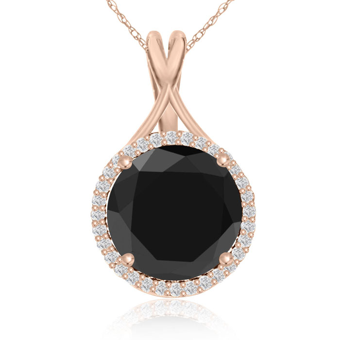 5 Carat Black & White Diamond Halo Necklace in 14K Rose Gold, G/H