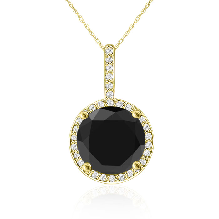 4 1/4 Carat Black & White Diamond Halo Necklace in 14K Yellow Gol