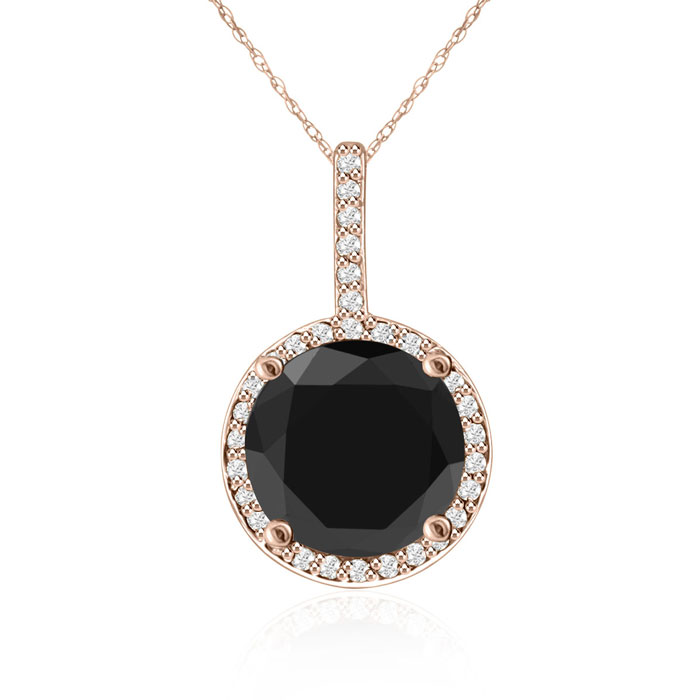 4 1/4 Carat Black & White Diamond Halo Necklace in 14K Rose Gold,